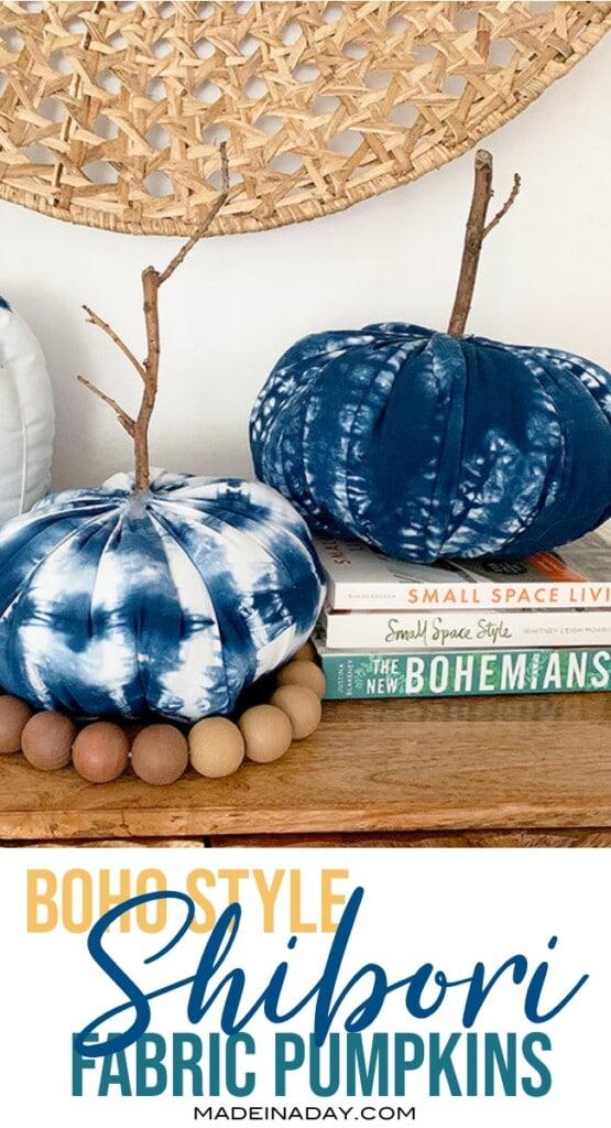 boho style shibori fabric pumpkins
