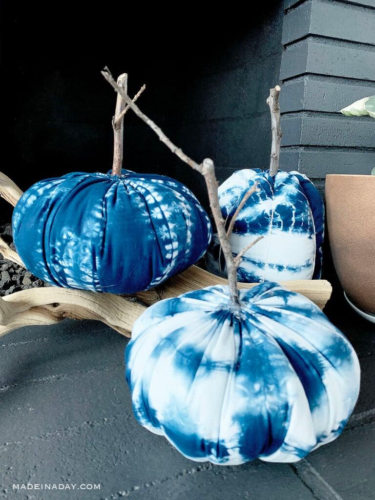 boho shibori fabric pumpkins