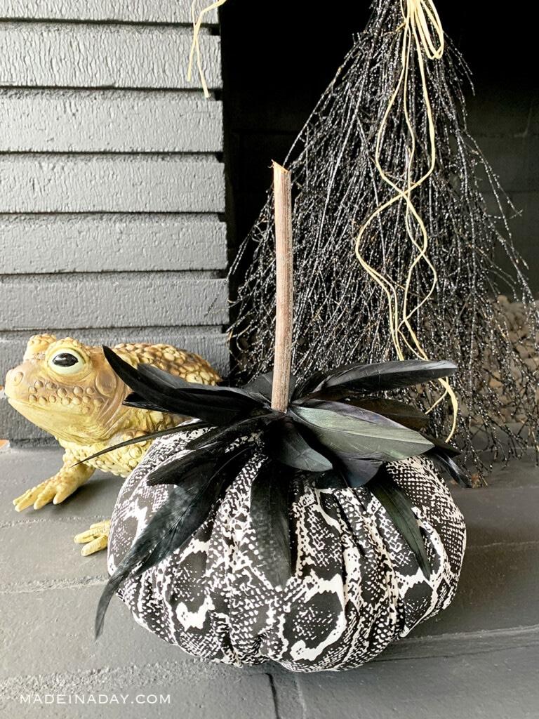 Snakeskin Fabric Feather Pumpkins
