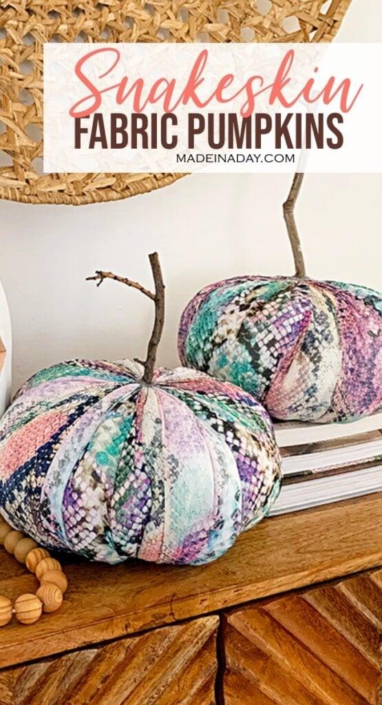 rainbow snakeskin fabric pumpkin