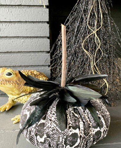 Snakeskin Fabric Feather Pumpkins 5