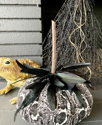 Snakeskin Fabric Feather Pumpkins 4