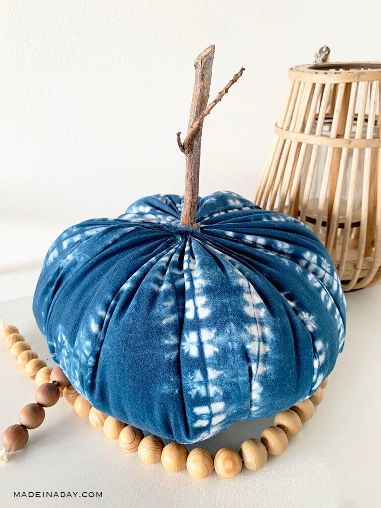 indigo shibori pumpkin, blue pumpkin, boho pumpkin, mudcloth pumpkins