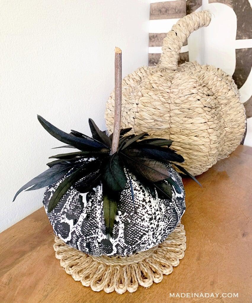 Black white snakeskin feather pumpkin