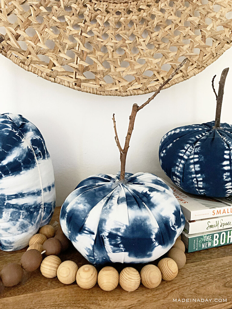 fabric pumpkin craft, shibori pumpkins, mudcloth pumpkins