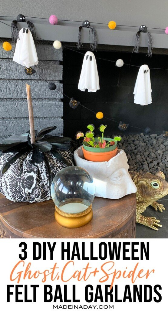 Easy DIY Halloween felt ball garlands