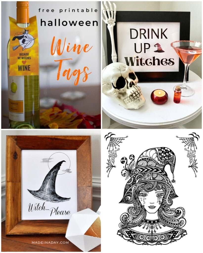 halloween wine tags, witch please