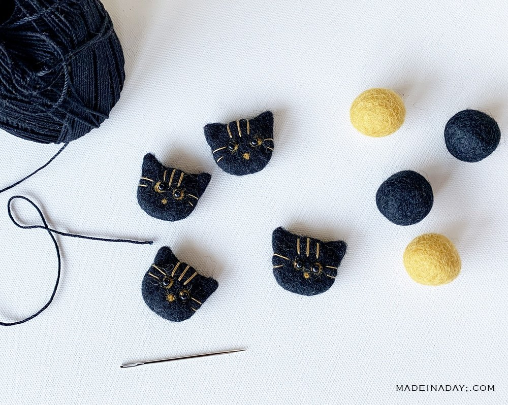 black cat wool felt balls