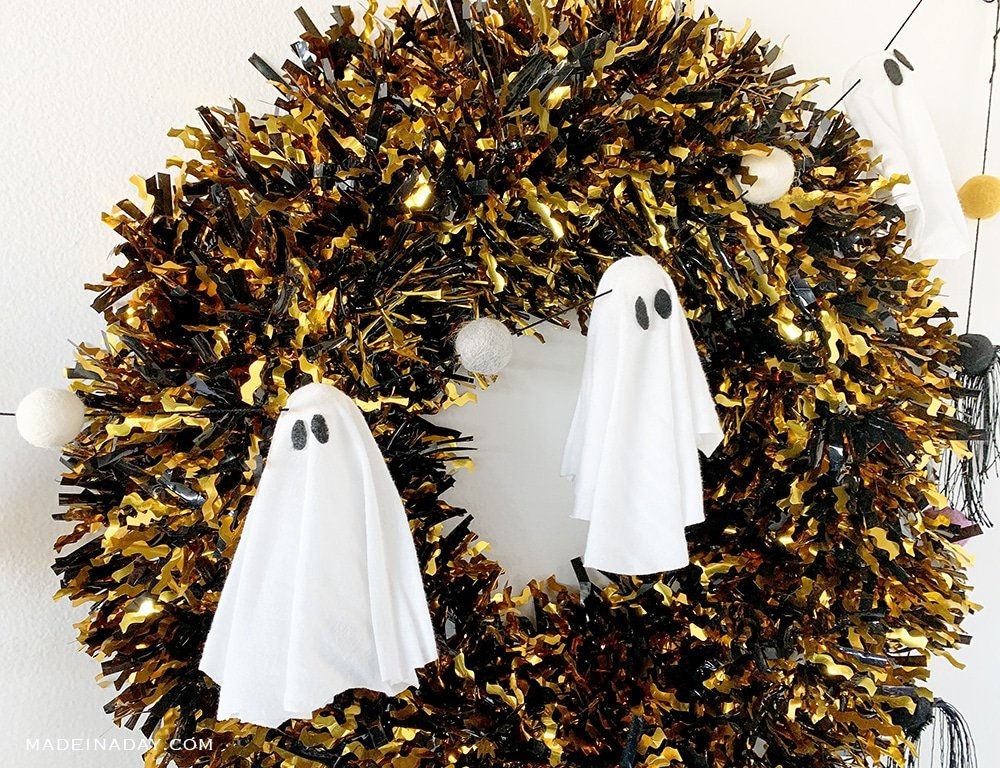DIY ghost felt ball garland