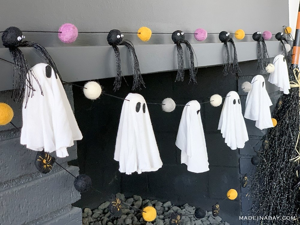 ghost felt ball garland, spider felt ball garland, vat felt ball garland banner