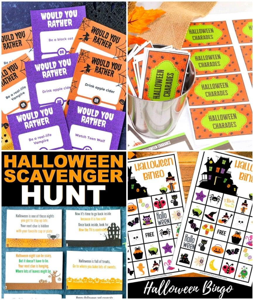 Halloween games, Halloween scavenger hunt, Halloween chrades