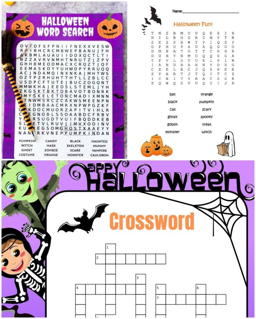 halloween word search, halloween crossword,
