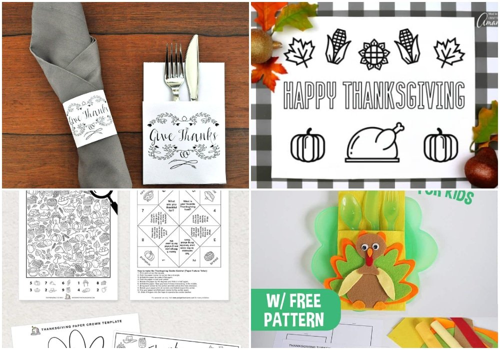 thanksgiving cutlery printables, thanksgiving coloring placemat printables