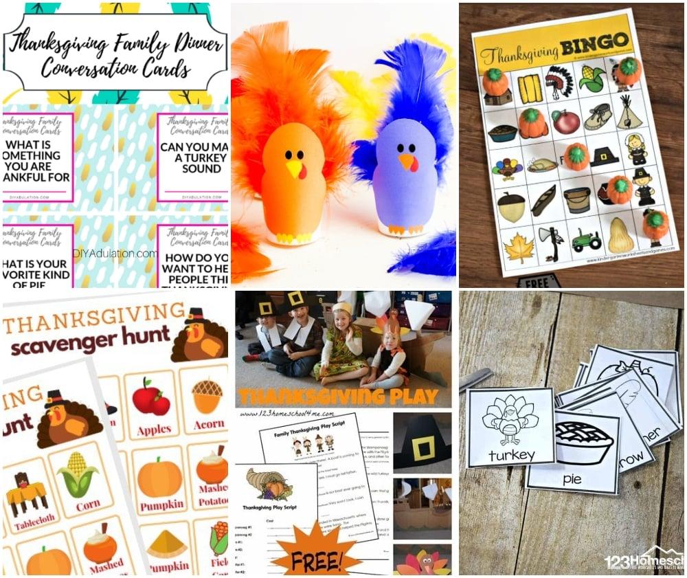 Thanksgiving printable family games,