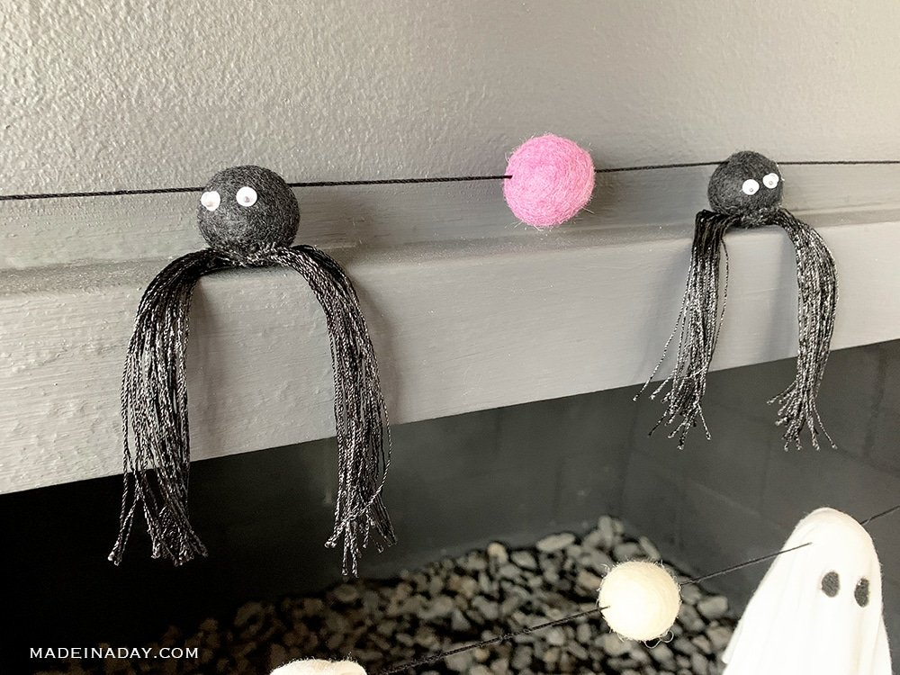 DIY spider felt ball garland