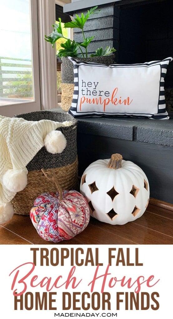 fall beach house decor finds, wicker, travelers palm, pumpkin decor