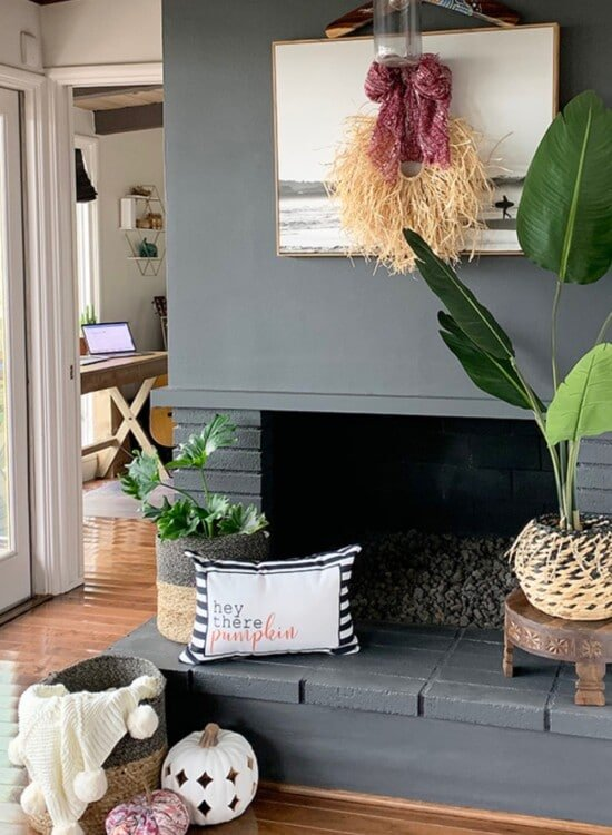Tropical Fall Beach House Fireplace Decorating 1