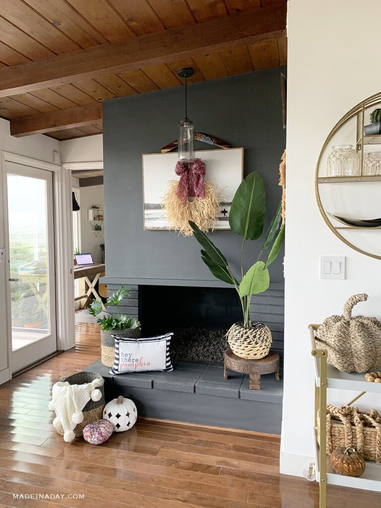 Tropical Fall Beach House Fireplace Decorating