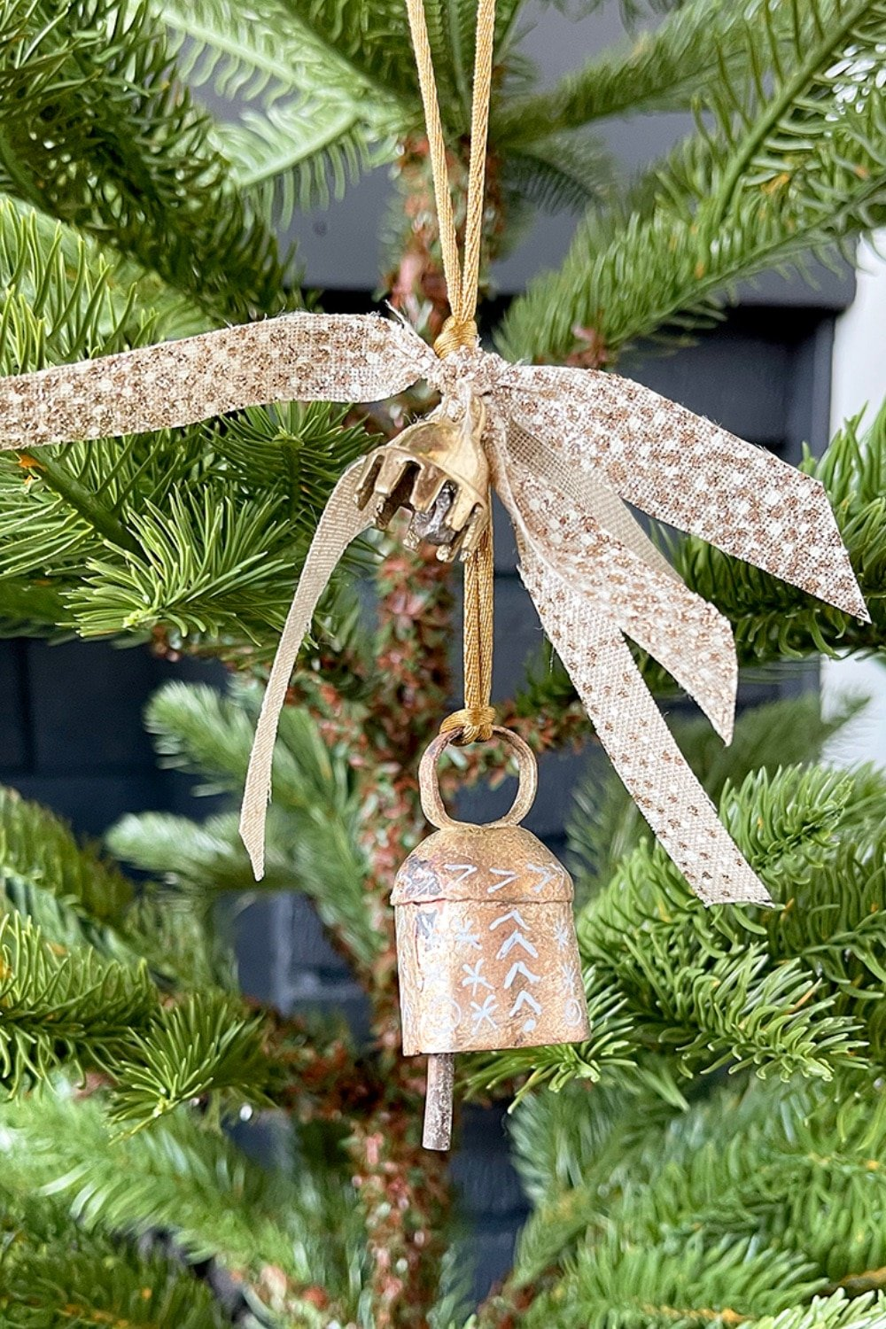 Painted Vintage Gold Bell Ornament