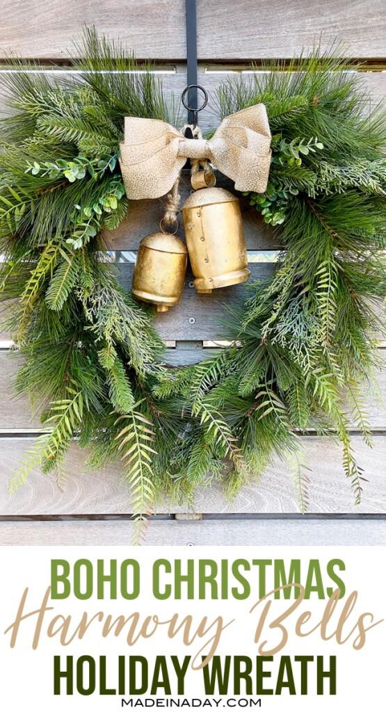 boho style christmas bell wreath