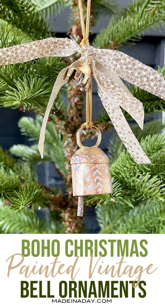 Painted Vintage Christmas Gold Bell Ornament