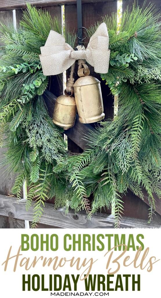 christmas fern wreath with bells