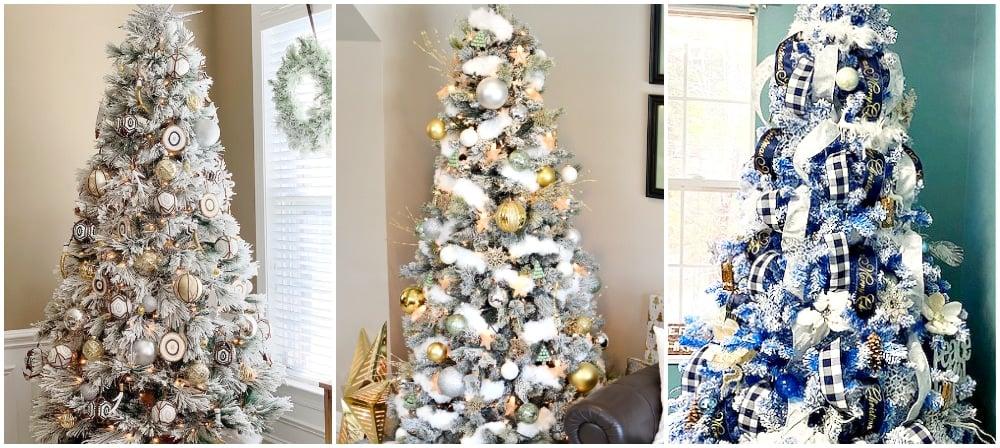 boho flocked christmas trees, plaid flocked christmas tree,