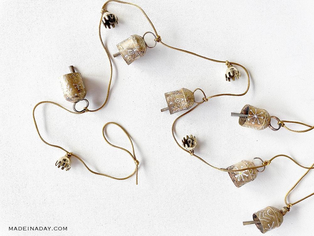 Global Boho Christmas Bell Garland