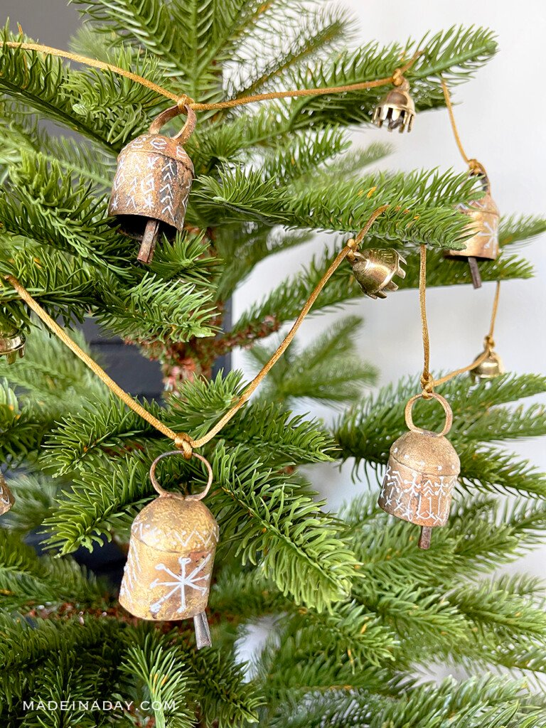 Vintage Painted Gold Bell Garland