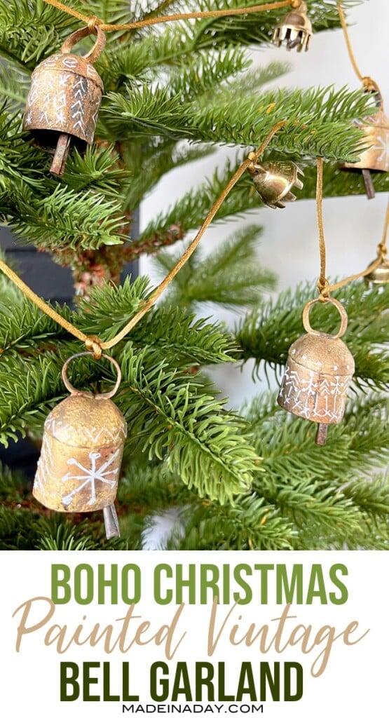 Boho Christmas Painted Vintage Bell Garland