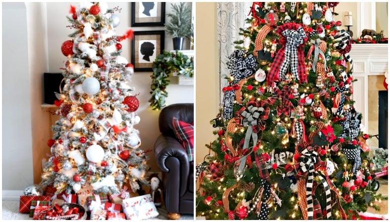 red plaid christmas trees