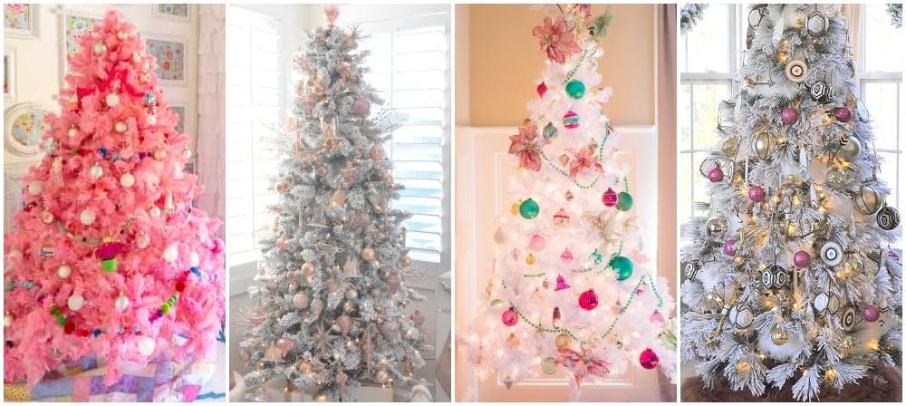 pink white christmas trees