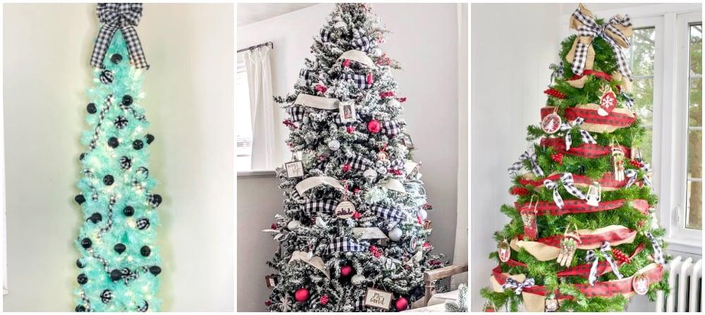 plaid christmas trees. teal christmas tree