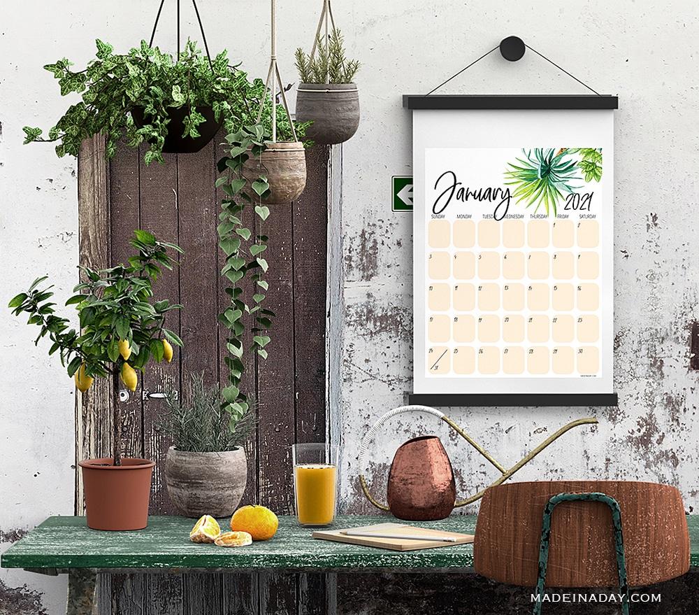 2021 Tropical Calendar Printables