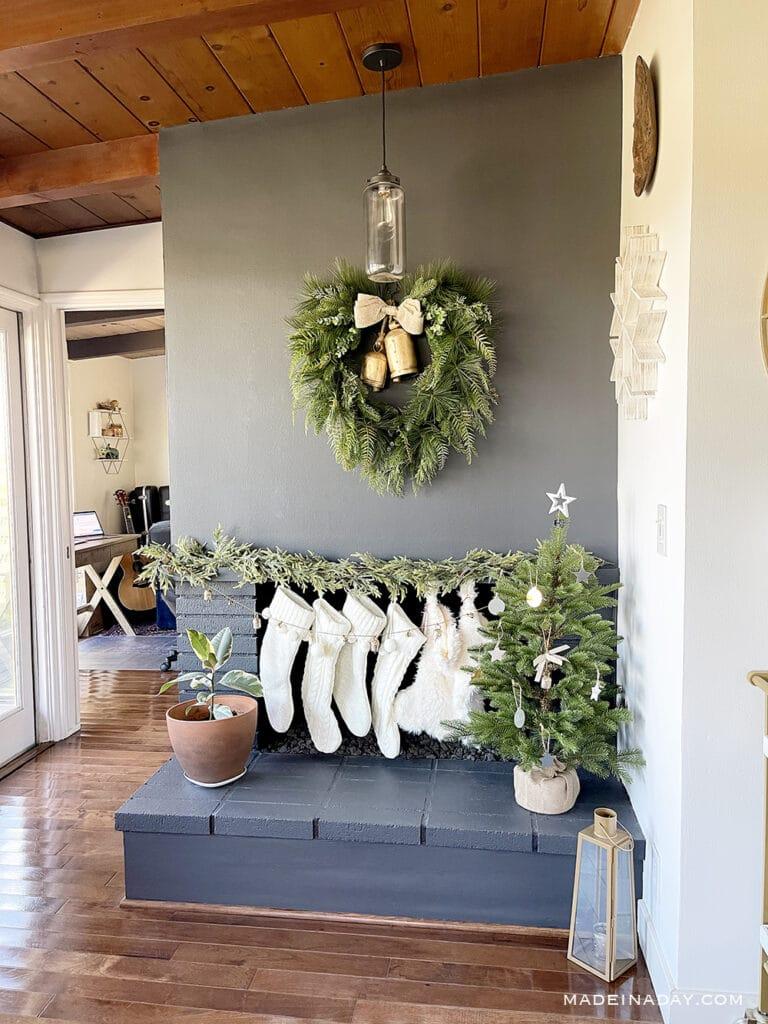 boho Christmas fireplace
