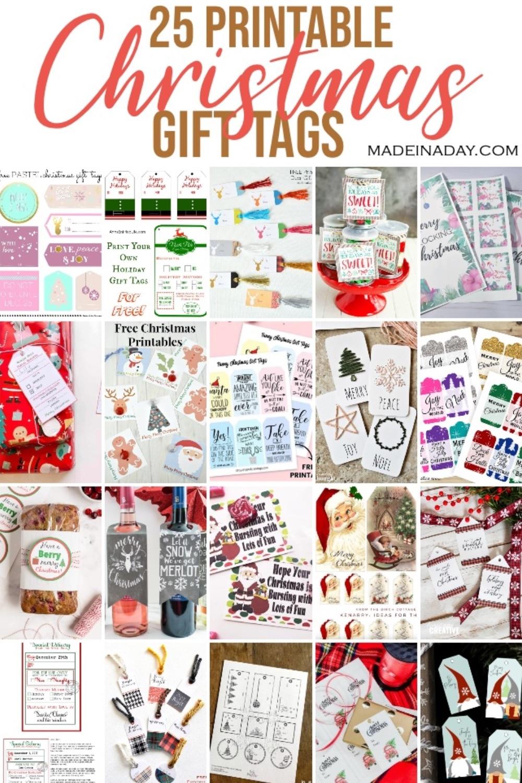 25 Printable Christmas Gift Name Tags