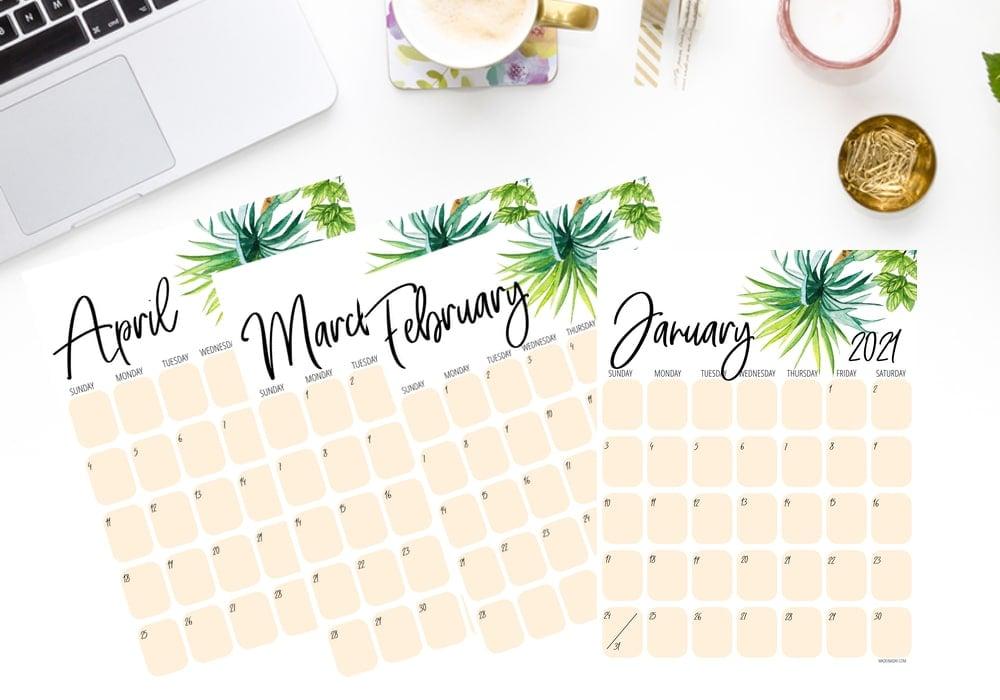 2021 Palm Tree Calendar Printables