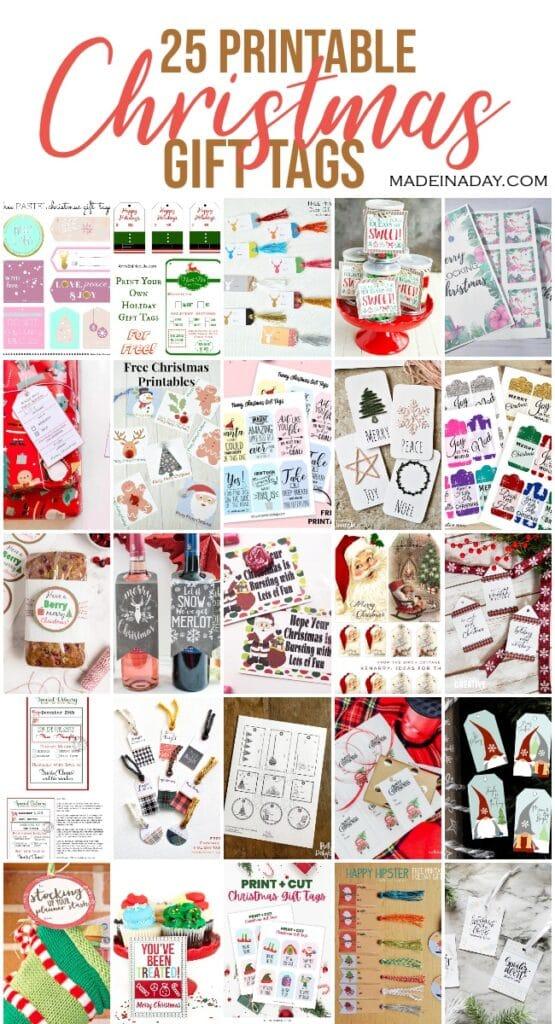 25 printable holiday gift tags, food gift tags