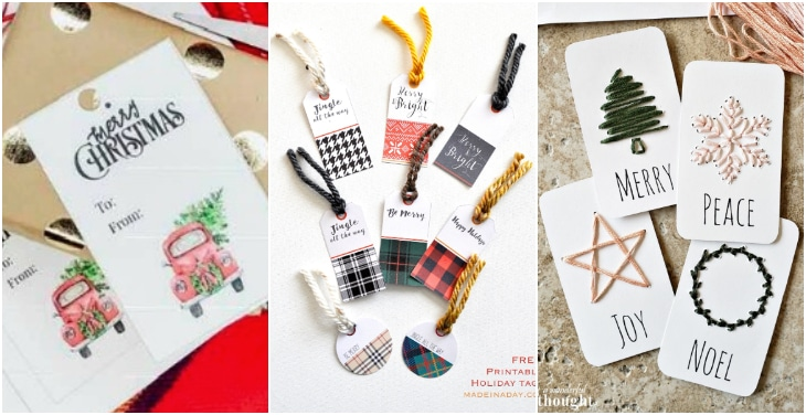red truck plaid gift tag
