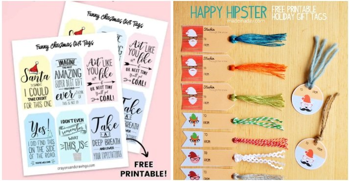 hipster gift tags