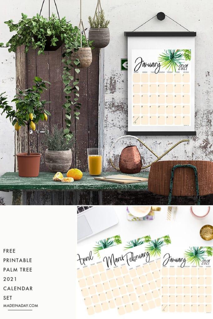 palm printable calendar