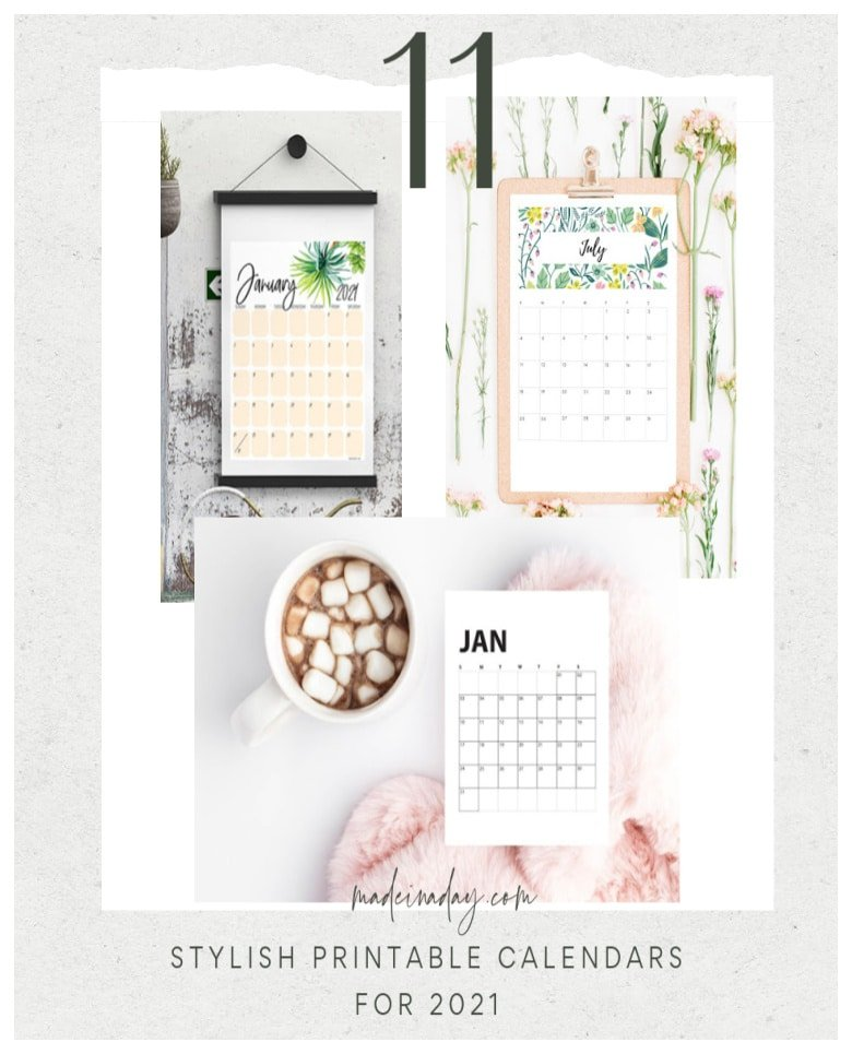Pretty Printable Calendars 11 Stylish designs for 2021
