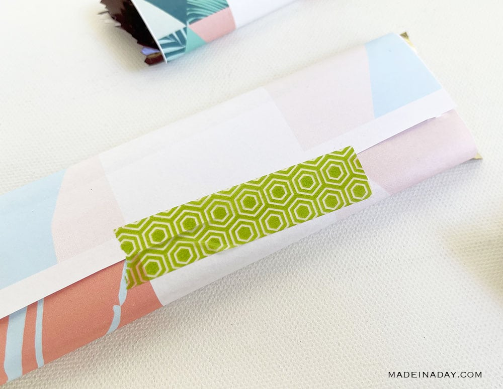 secure candy wrapper with washi tape