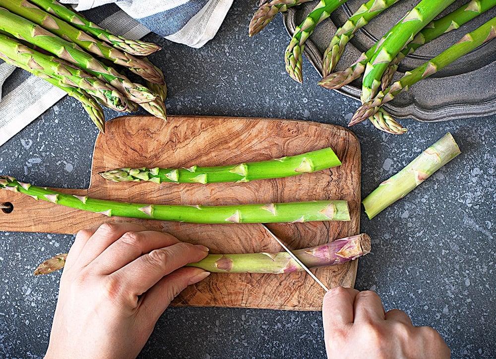 trim asparagus stems