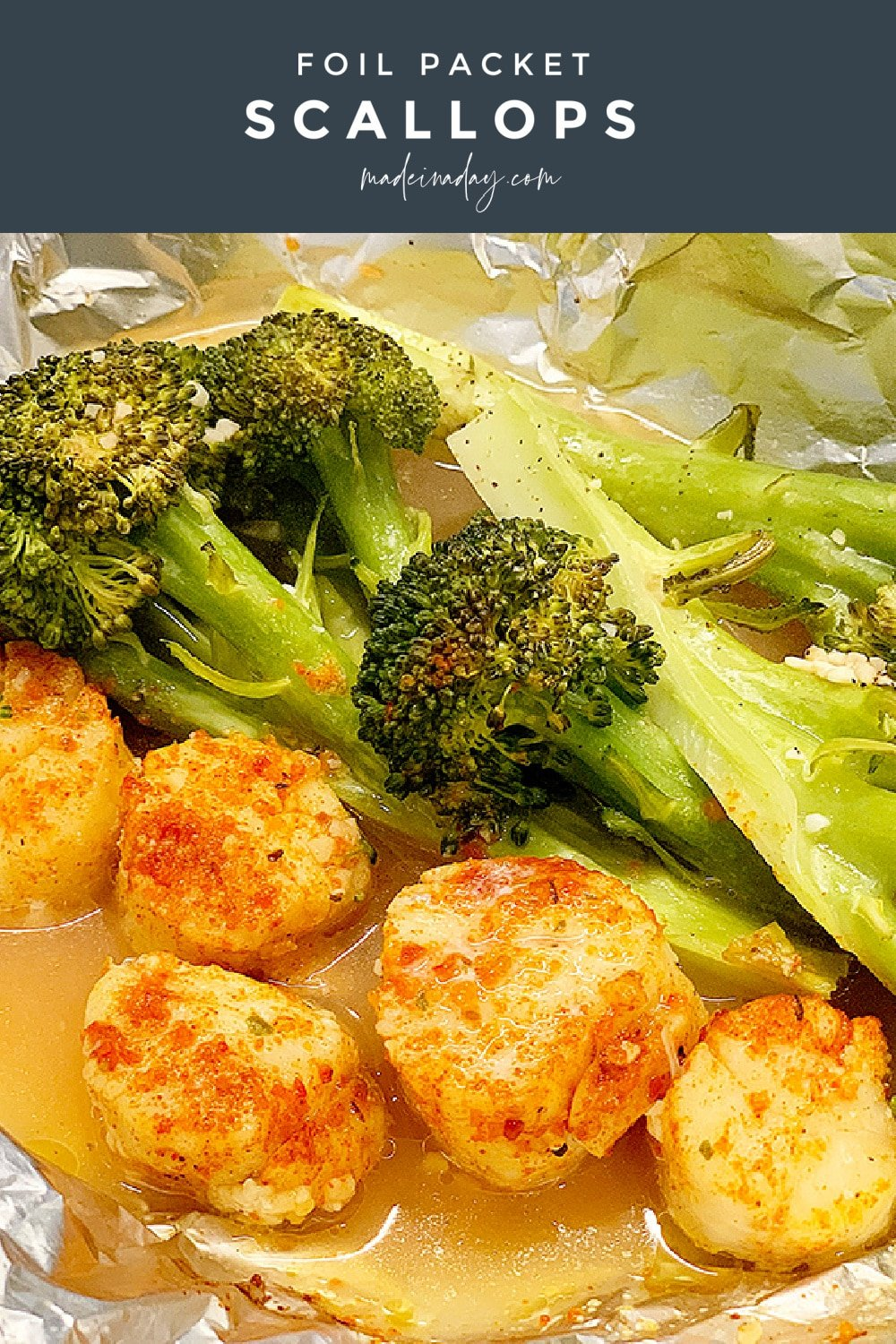 Easy Baked Broccoli and Scallops Foil Packets