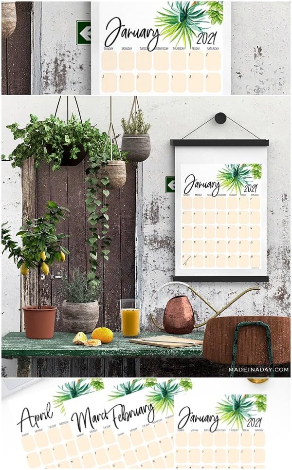 2021 Tropical Palm Tree Calendar Printables