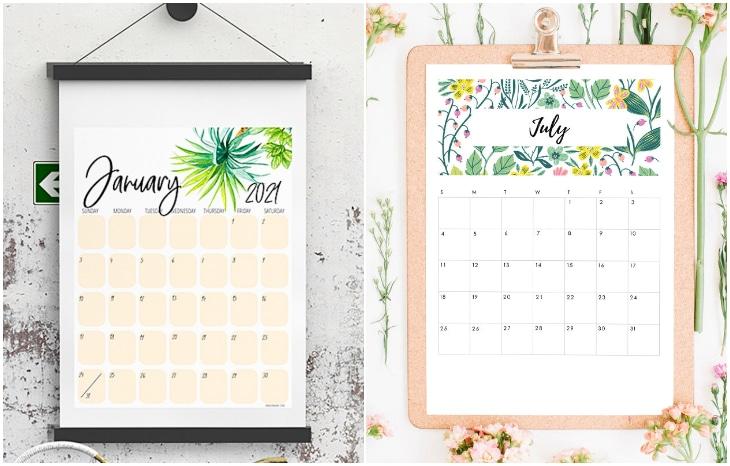 Floral Printable Calendars