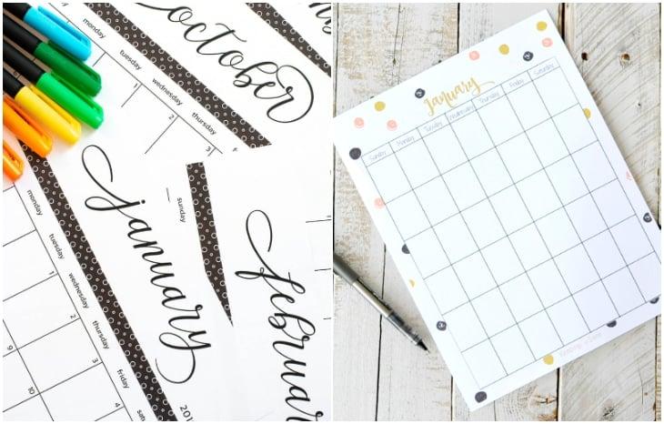 polka dot printable calendar