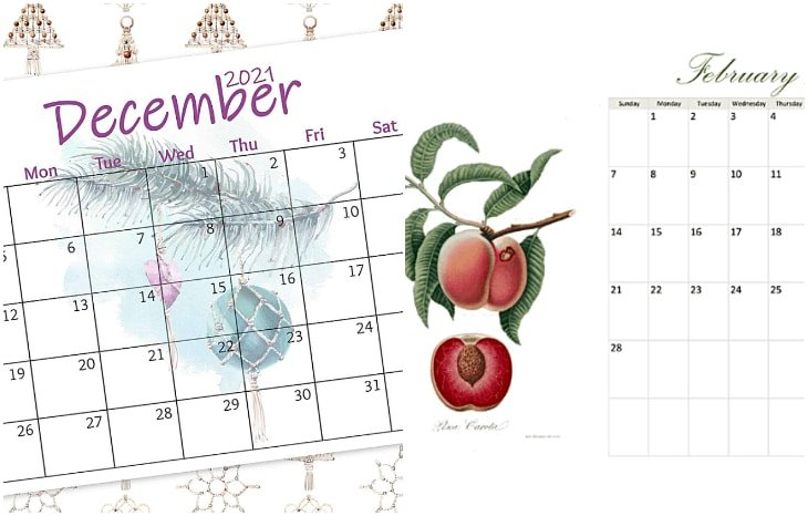 fruit printable calendar set