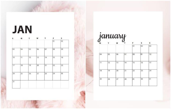 minimal printable calendar
